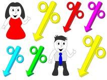 指向百分比的男人和妇女 免版税库存图片