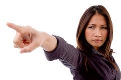 指向纵向妇女 免版税库存图片
