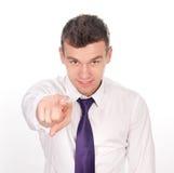 指向纵向的商人您新 免版税库存照片