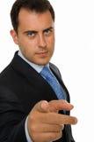 指向纵向的生意人您 库存图片