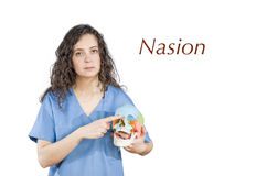 指向缝合的契合的物理疗法/医生在sk 免版税图库摄影