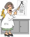 指向视力检查表的女性眼科医生 向量例证