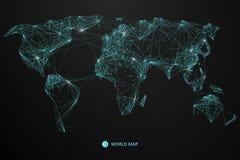 指向,世界地图的线构成,网络连接的涵义 向量例证
