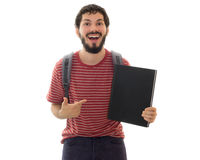 指向黑名册的愉快的年轻男性 库存图片