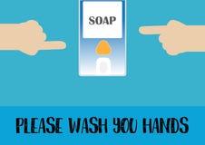 指向洗涤肥皂分配器的手 Ep10 免版税图库摄影
