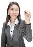 指向w的女实业家标记 免版税库存图片