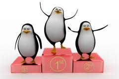 指挥台的企鹅优胜者 库存照片