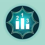 指挥台象不可思议的玻璃状镶有钻石的旭日形首饰的蓝色按钮天蓝色背景 免版税库存图片