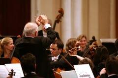 指挥Barenboim和柏林爱乐管弦乐团 库存照片