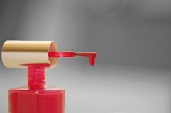 指甲油红色 库存照片