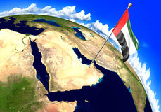 指示世界地图的阿联酋国旗国家地点 3d翻译 图库摄影