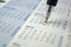 指示在日历的笔一日 免版税库存图片