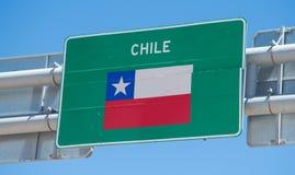 指示智利边界的标志 免版税库存图片