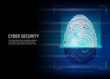 指纹在数字式背景的扫描传染媒介 免版税库存图片