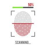 指纹在白色背景的扫描象 生物统计的授权标志 也corel凹道例证向量 库存图片