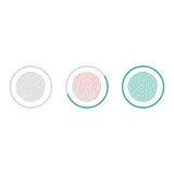 指纹在白色背景隔绝的扫描象 生物统计的授权标志 也corel凹道例证向量 库存图片