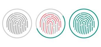 指纹在白色背景隔绝的扫描象 生物统计的授权标志 也corel凹道例证向量 免版税图库摄影