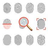 指纹或指尖印刷品证明扫描器和放大器导航象 库存例证