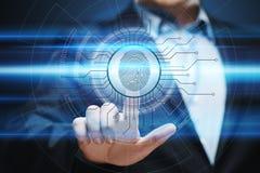 指纹扫描提供安全通入以生物测定学证明 企业技术安全互联网概念 免版税库存照片