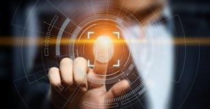 指纹扫描提供安全通入以生物测定学证明 企业技术安全互联网概念 库存照片