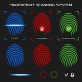 指纹扫描系统 也corel凹道例证向量 免版税库存照片