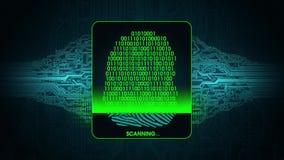 指纹扫描-数字式保安系统,被否认的指纹扫描通入的结果的过程 库存例证