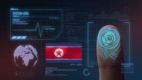 指纹生物统计的扫描的鉴定系统 北朝鲜国籍 皇族释放例证