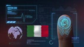 指纹生物统计的扫描的鉴定系统 意大利国籍 向量例证
