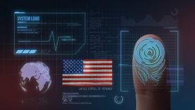 指纹生物统计的扫描的鉴定系统 美国国籍 向量例证