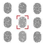 指纹的创造性的传染媒介例证 艺术设计指纹 安全罪行标志 抽象概念图表元素 略图 向量例证