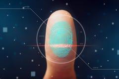 指纹的扫描 信息保护和生物统计的证明高技术  库存图片