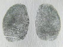 指纹,留下一个右拇指 免版税库存照片