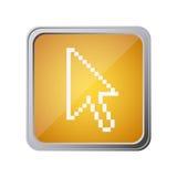 按与有背景黄色的pixelated箭头游标 免版税库存照片