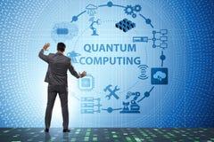 按在量子计算概念的商人真正按钮 库存图片