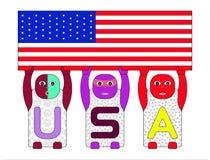 按字母顺序的儿童的名字U, S,举在白色背景的A美国旗子 库存照片