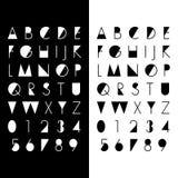按字母顺序的字体和数字 皇族释放例证