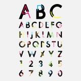 按字母顺序的字体和数字 库存图片