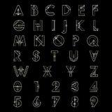 按字母顺序的字体和数字 库存例证