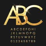 按字母顺序的字体和数字 免版税库存图片