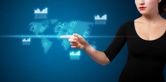 按按钮的现代企业类型女实业家 免版税图库摄影
