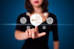 按按钮的现代企业类型女实业家 图库摄影
