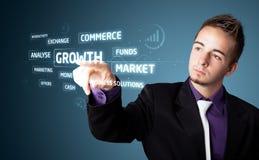 按按钮的现代企业类型生意人 免版税图库摄影
