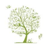 按摩和温泉概念,您的设计的艺术树 库存图片
