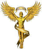 按摩脊柱治疗者金子徽标 免版税库存图片