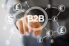 按有b2b美元货币网的商人按钮 库存图片