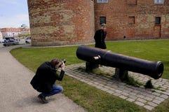 按游览对SONDBRBORG城堡镇视图 免版税库存照片