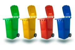 按照垃圾类型打开垃圾桶多种颜色 免版税库存照片