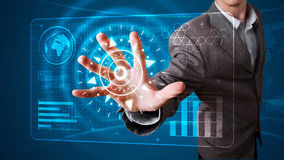按现代按钮的高科技类型生意人 免版税图库摄影