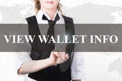 按看法一个虚屏的钱包信息按钮的夹克和领带的女实业家 交换和生产  免版税库存图片
