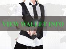 按看法一个虚屏的钱包信息按钮的夹克和领带的女实业家 交换和生产  库存图片